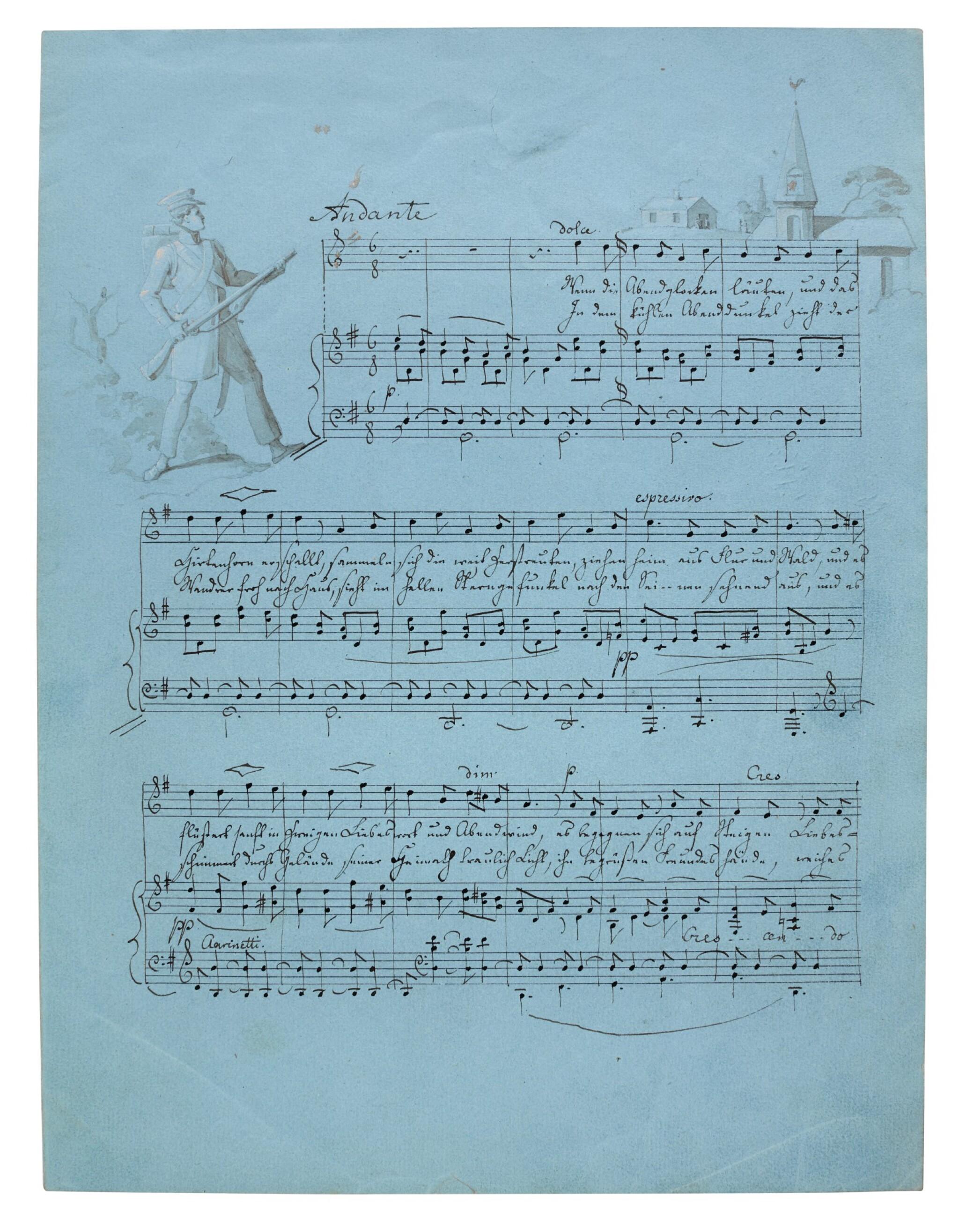 "View full screen - View 1 of Lot 57. F. Mendelssohn. Fine illustrated autograph manuscript of the song ""Wenn die Abendglocken läuten"", 1830."