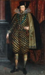 ENGLISH SCHOOL, CIRCA 1620   Portrait of James VIofScotlandand I of England (1566–1625), full-length, wearing a black and white striped suit with a silk lined black cape, lace collar and cuffs and a hat with a feather, with the Order of Saint George