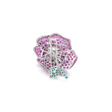 View 3. Thumbnail of Lot 50. Ruby and emerald brooch.