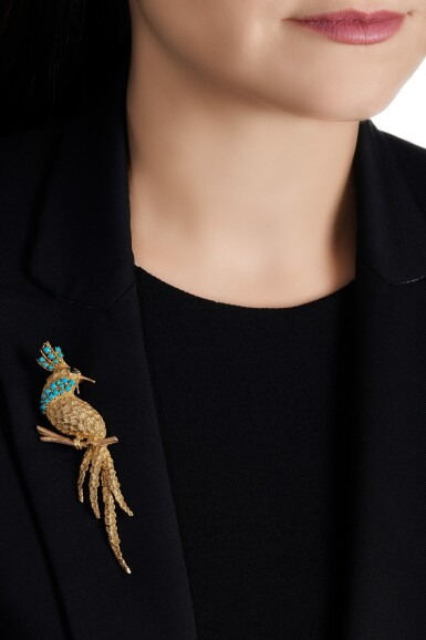 View 4. Thumbnail of Lot 42. Gold, turquoise and sapphire brooch.