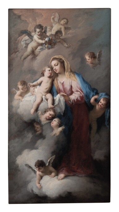 View 1. Thumbnail of Lot 140. JACOPO AMIGONI     MADONNA AND CHILD WITH ANGELS, IN THE CLOUDS.
