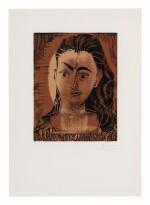 PABLO PICASSO   PETIT BUSTE DE FEMME (PORTRAIT DE JACQUELINE EN ROBE IMPRIMÉE) (B. 1082; BA. 1300)
