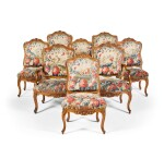 A SUITE OF LOUIS XV CARVED WALNUT SEAT FURNITURE CIRCA 1750, BY JEAN GODO, LYON