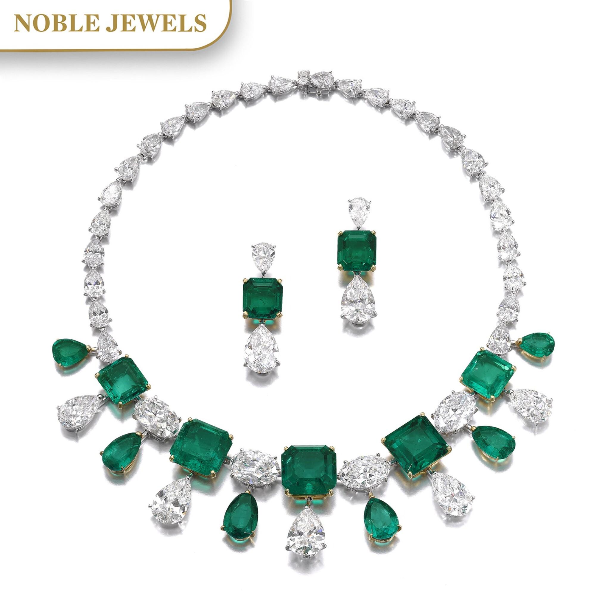 View full screen - View 1 of Lot 167.  Moussaieff | Impressive emerald and diamond demi-parure | Moussaieff | 祖母綠配鑽石首飾套裝.