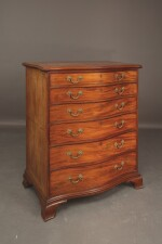 A GEORGE III MAHOGANY SERPENTINE TALL CHEST OF DRAWERS, THIRD QUARTER 18TH CENTURY