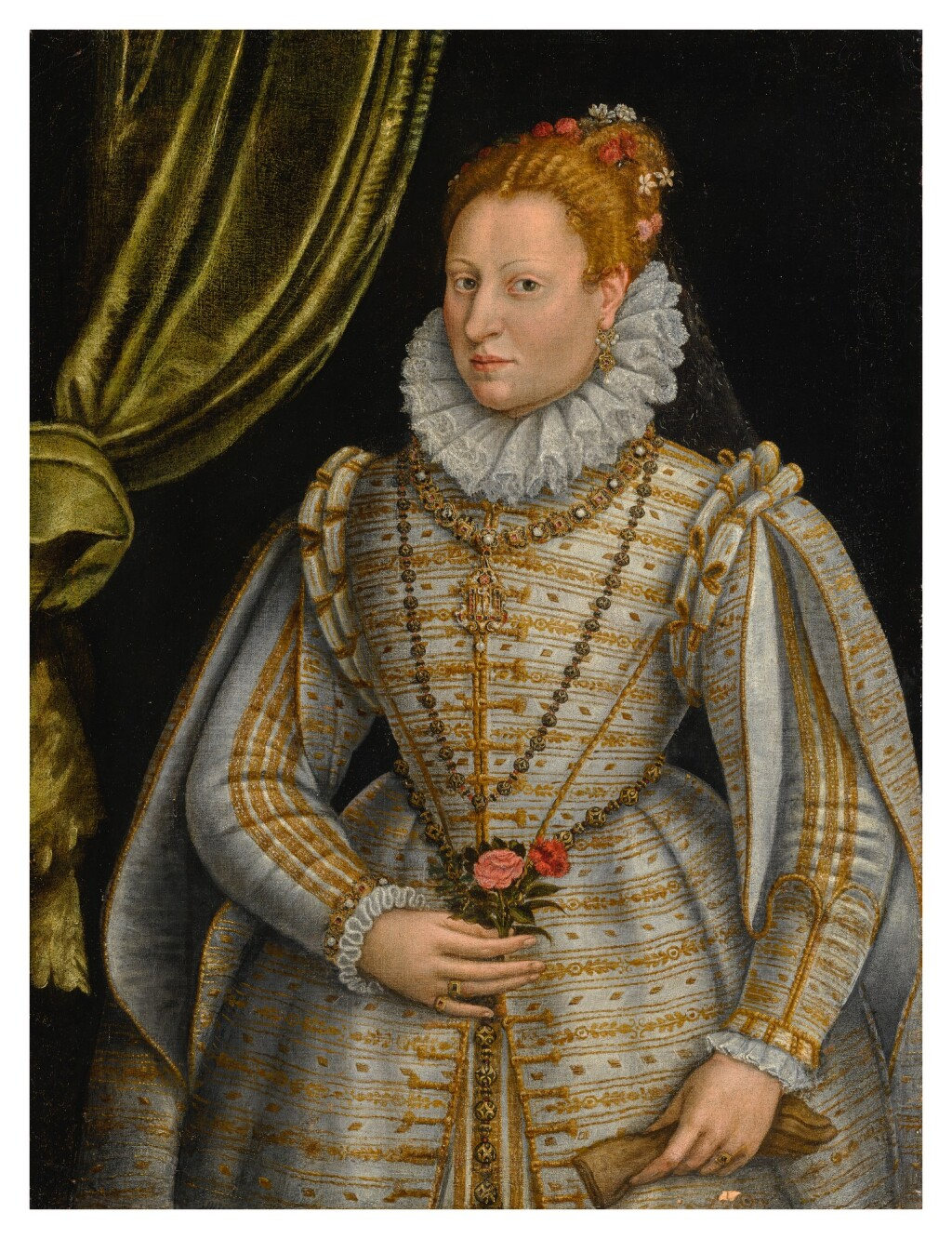 LAVINIA FONTANA     PORTRAIT OF A LADY, THREE-QUARTER LENGTH, DRESSED IN A WHITE AND GOLD EMBROIDERED GOWN, HOLDING A GLOVE IN ONE HAND AND A ROSE AND A PINK IN THE OTHER