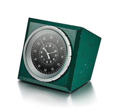 View 2. Thumbnail of Lot 8089. PATEK PHILIPPE FOR ROLEX | A GREEN PAINTED METAL ELECTRIC DESK CLOCK, CIRCA 1970.