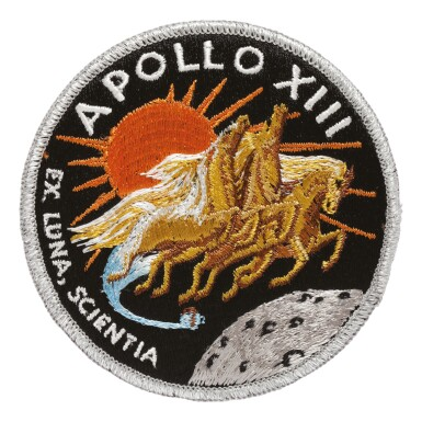 View 1. Thumbnail of Lot 162. [APOLLO 13]. FLOWN ON APOLLO 13. AB EMBLEM MISSION PATCH, FROM THE COLLECTION OF JAMES LOVELL.