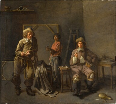 FRENCH SCHOOL, 1640S | THE INTERIOR OF AN ARTIST'S STUDIO, WITH THREE FIGURES
