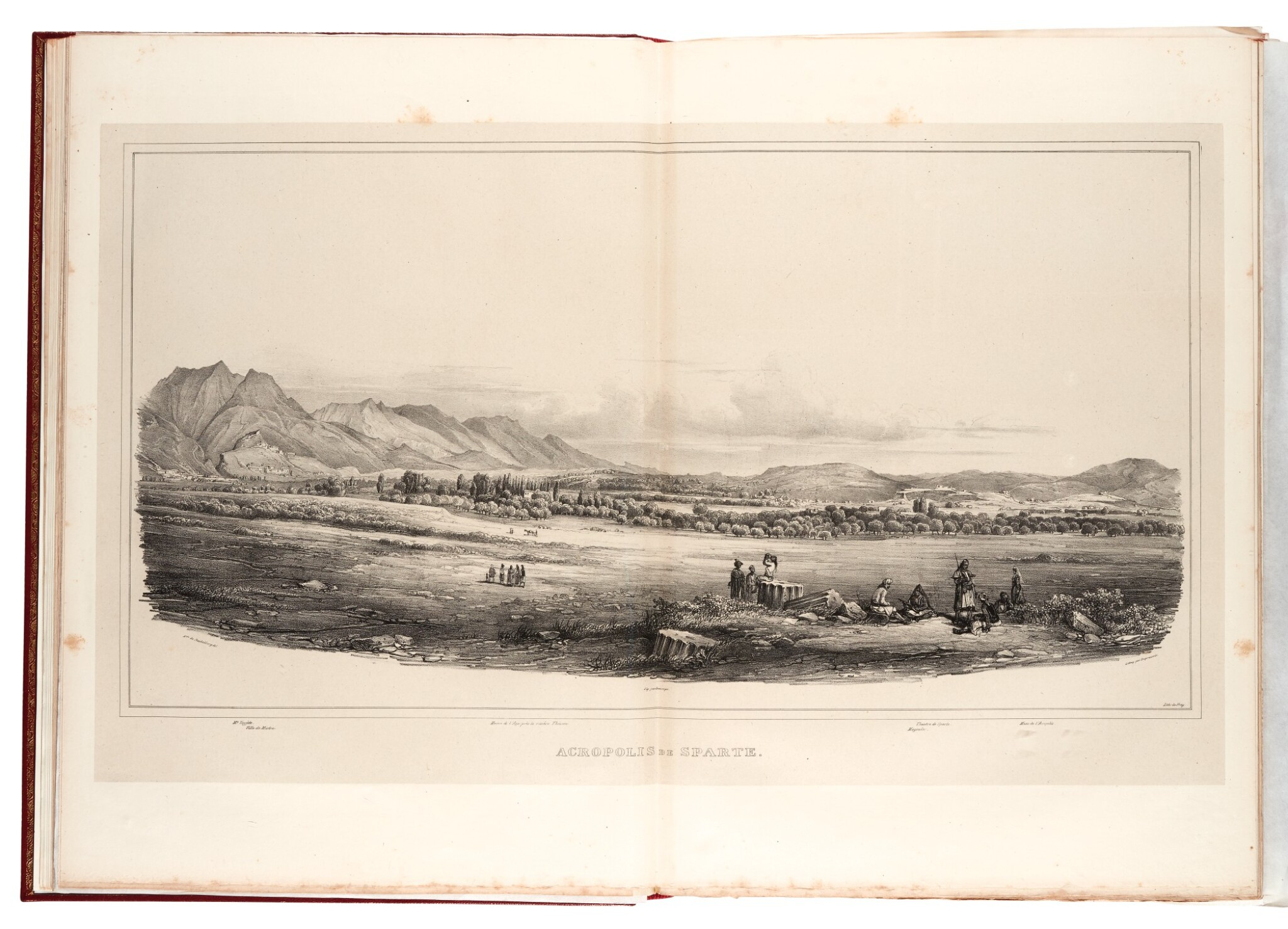 View full screen - View 1 of Lot 106. Stackelberg. La Grèce. Vues pittoresques et topographiques. [1829]-1834. folio. modern red morocco. The Blackmer copy.