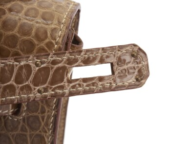 Shiny fauve porosus crocodile and gold plated hardware handbag, Kelly 32, Hermès