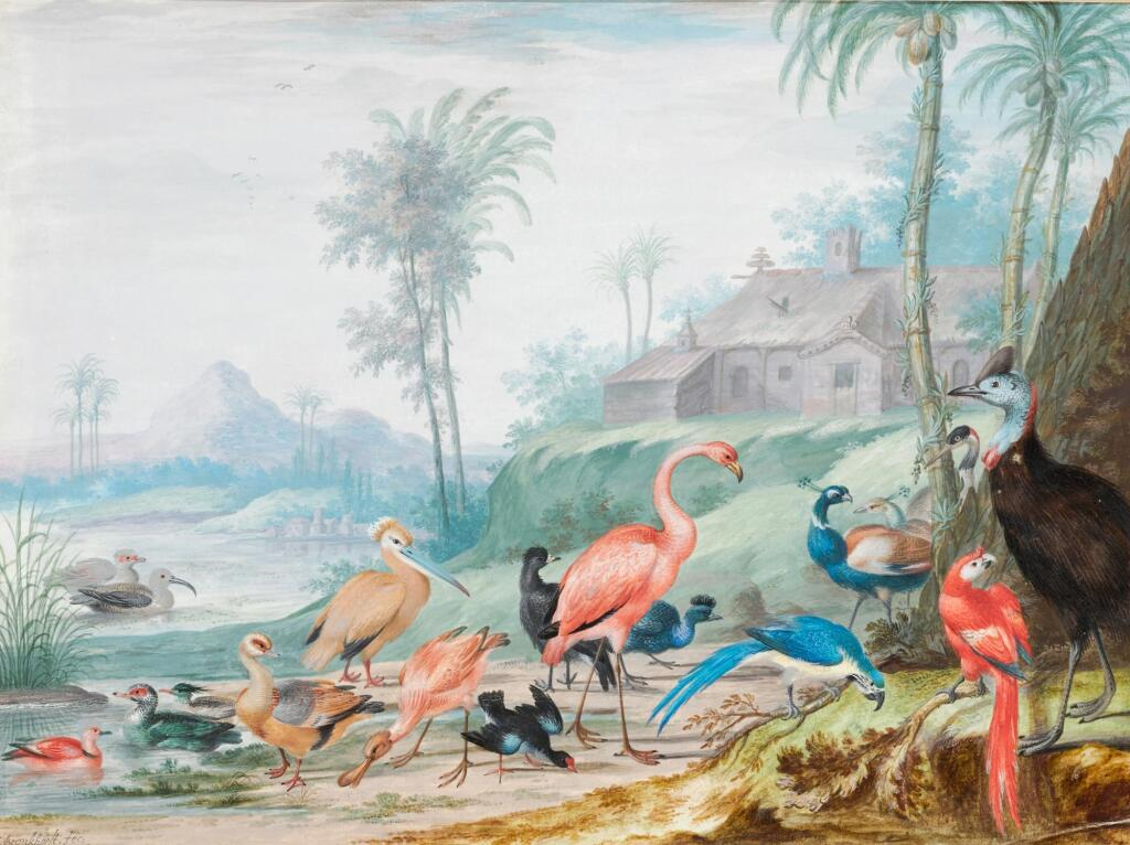 JOHANNES BRONCKHORST | A group of exotic birds in a landscape beneath palm trees, a building and mountains beyond