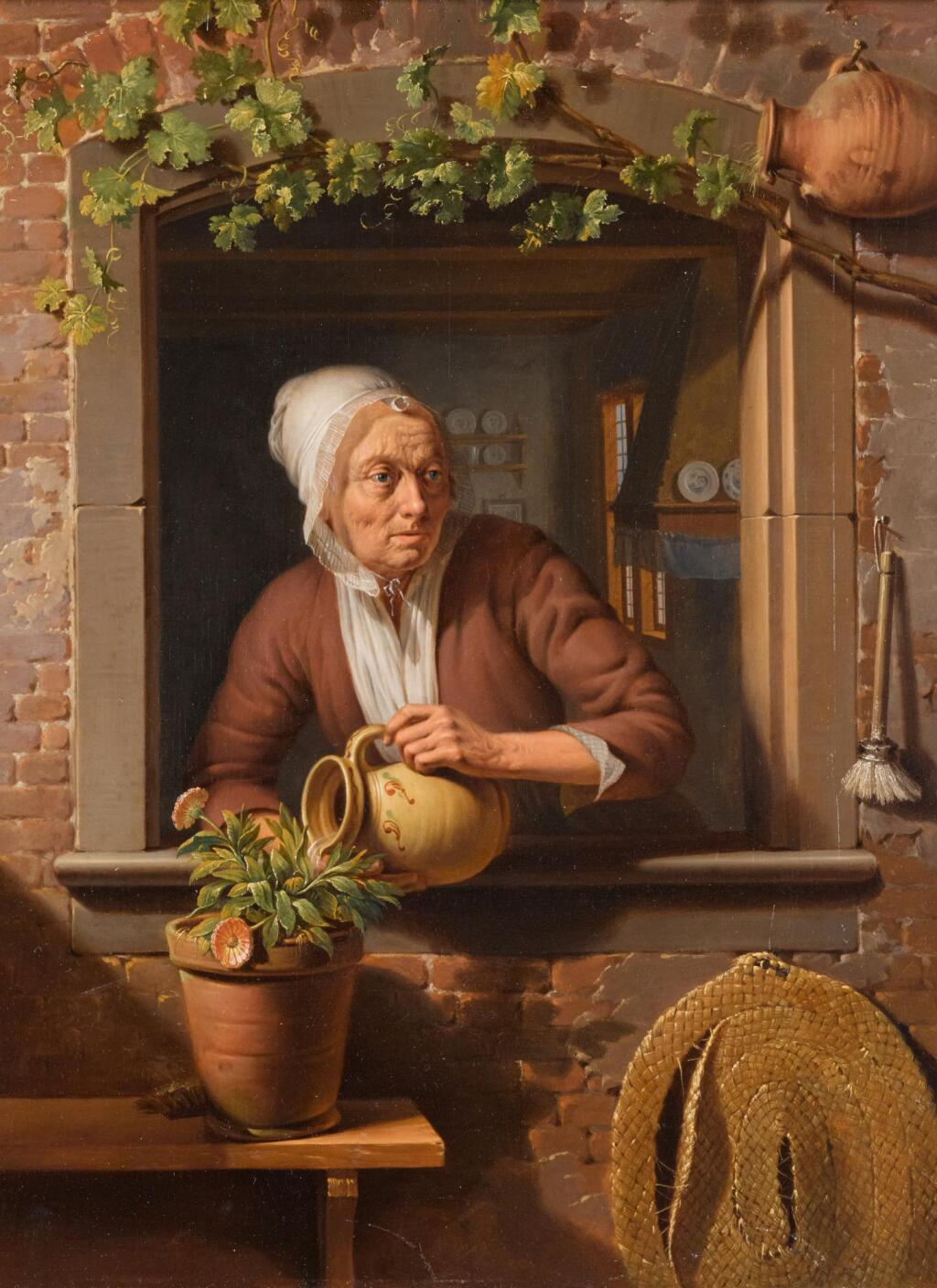 SIMON BESANGER | A peasant lady watering a flower pot on a wooden table with a view of the interior of her home in the background