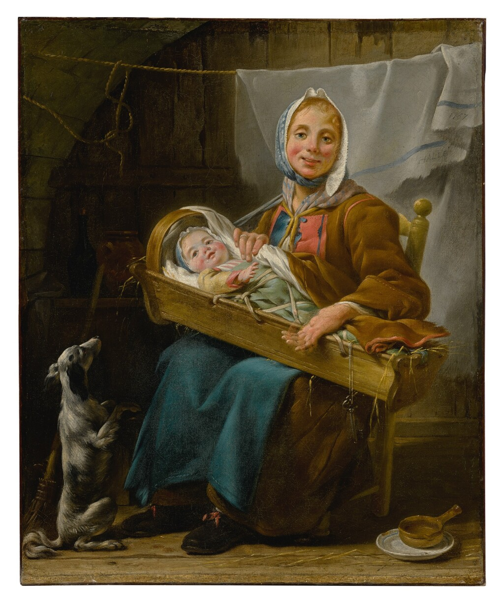 NOËL HALLÉ   PORTRAIT OF A WOMAN, SAID TO BE GENEVIÈVE LORRY, DRESSED AS A SAVOYARDE, HOLDING AN INFANT IN A CRIB, SITTING IN A COURTYARD, TOGETHER WITH A BEGGING DOG