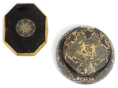 View 1. Thumbnail of Lot 61. TWO GOLD-MOUNTED TORTOISESHELL PIQUÉ BOXES, EARLY 18TH CENTURY.