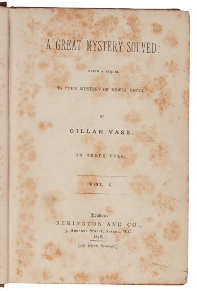 View 2. Thumbnail of Lot 219. Vase, A Great Mystery Solved: Being A Sequel to the Mystery of Edwin Drood, 1878, first edition.