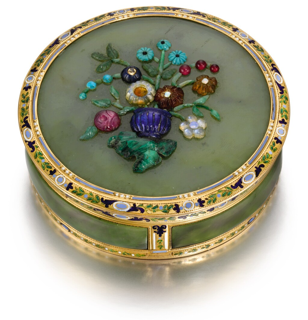 A HARDSTONE SNUFF BOX WITH GOLD AND ENAMEL MOUNTS, CHARLES OUIZILLE, PARIS, 1788 AND LATER