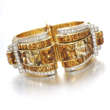 View 2. Thumbnail of Lot 695. Janesich | Pair of citrine and diamond clips/bangle combination, circa 1940 | Janesich | 黃水晶配鑽石別針/手鐲組合一對,約1940年.