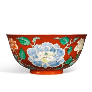 View 3. Thumbnail of Lot 137. A fine and rare coral-ground famille-verte 'peony' bowl, Yongzheng yuzhi mark and period | 清雍正 珊瑚紅地五彩牡丹紋盌  《雍正御製》款.