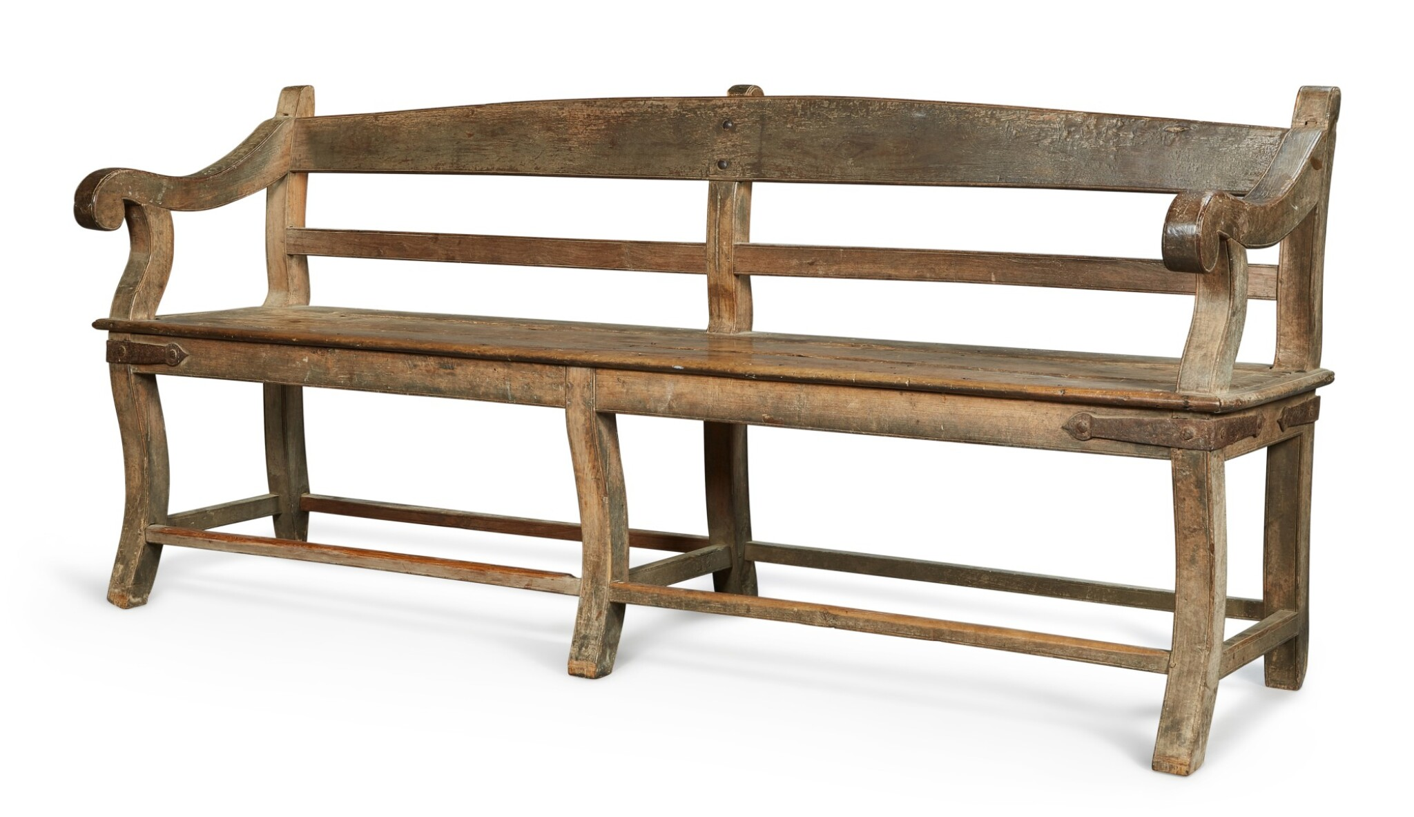 View full screen - View 1 of Lot 138.  A LARGE TEAK 'BOMBAY' BENCH, INDIA, 19TH CENTURY.