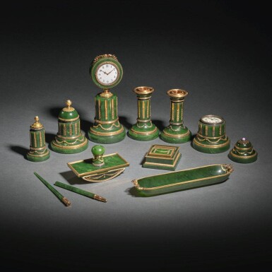 View 3. Thumbnail of Lot 34. A Highly Important Fabergé Varicolored Gold-Mounted Nephrite Desk Set, Workmaster Henrik Wigström, St Petersburg, 1903-1912.