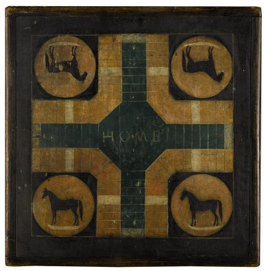 View 1. Thumbnail of Lot 1459. AMERICAN POLYCHROME PAINT-DECORATED WOODEN DOUBLE-SIDED 'HORSE' PARCHEESI AND CHECKER GAMEBOARD, LATE 19TH CENTURY.
