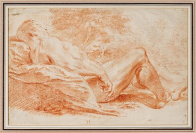 View 1. Thumbnail of Lot 30. Academy Study: Male nude reclining in a landscape.
