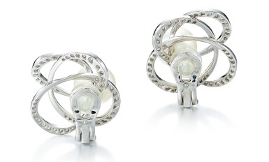 View 3. Thumbnail of Lot 9102. PAIR OF CULTURED PEARL AND DIAMOND EAR CLIPS, CHANEL | 養殖珍珠 配 鑽石 耳環一對, 香奈兒 ( Chanel ).