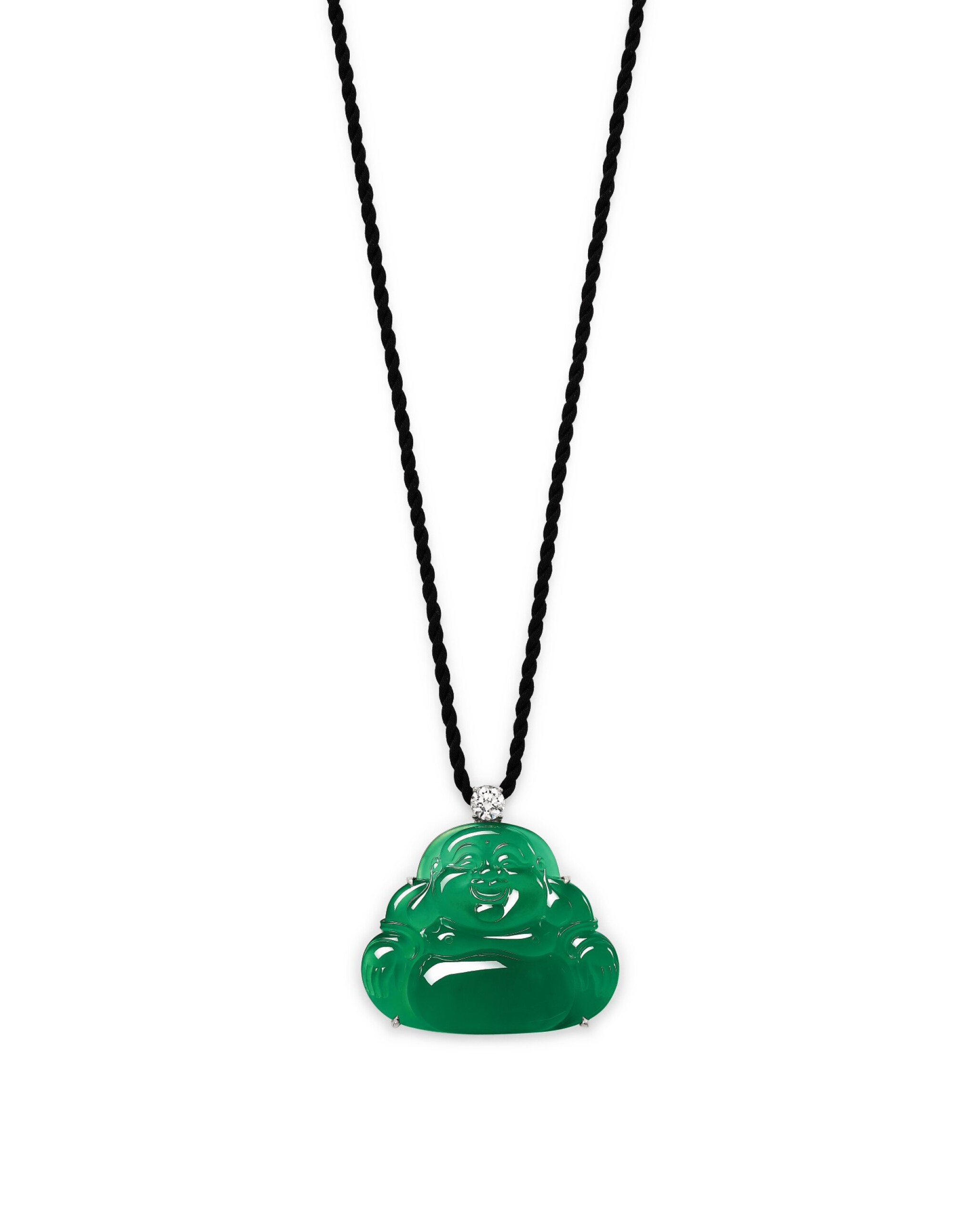 View full screen - View 1 of Lot 1686. Jadeite 'Buddha' and Diamond Pendent Necklace | 天然翡翠雕「彌勒佛」 配 鑽石 項鏈.