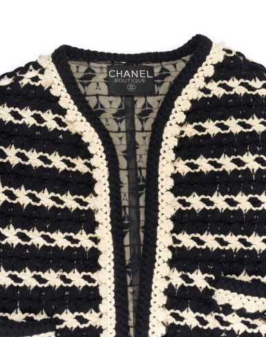 View 3. Thumbnail of Lot 91.  BLACK AND WHITE KNITTED JACKET, CHANEL.