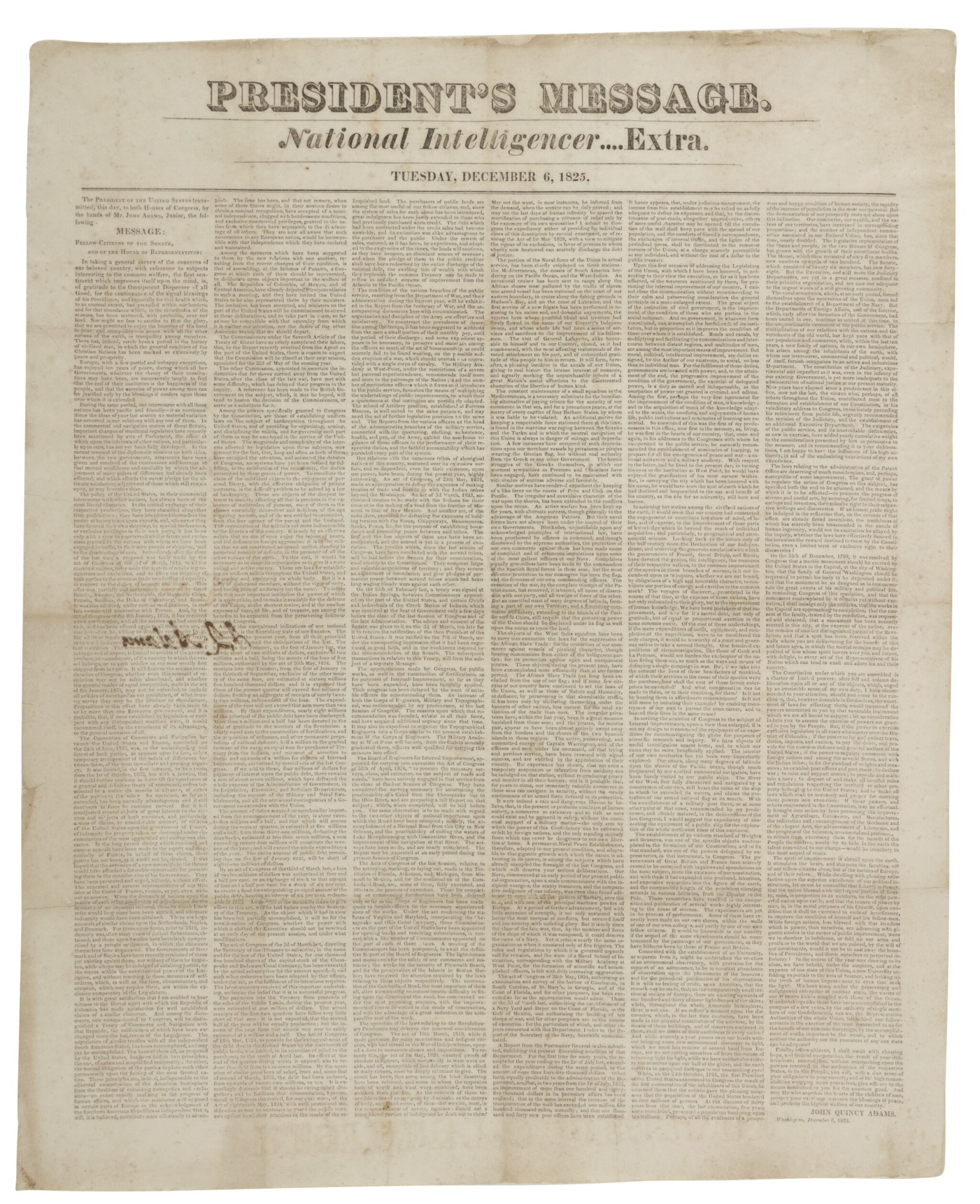 View full screen - View 1 of Lot 116. ADAMS, JOHN QUINCY | John Quincy Adams's signed copy of his President's Message, in National Intelligencer Extra. [Washington], December 6, 1825.