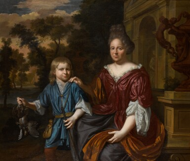 CHRISTOFFEL LUBIENIECKI | Portrait of an elegantly-dressed lady and her son in a landscape before a stone monument