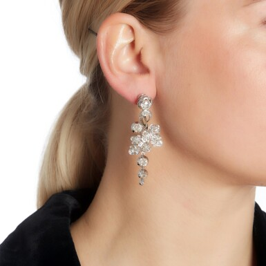 View 4. Thumbnail of Lot 129. Pair of diamond earrings, 19th century and later.