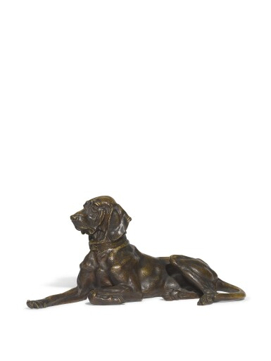 Pointer Dog Resting: A bronze figure, after the model by Nikolai Lieberich (1828-1883), cast by Woerffel Foundry, St Petersburg, late 19th century