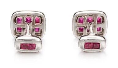 View 3. Thumbnail of Lot 1030. Pair of Ruby and Diamond Cufflinks   格拉夫  紅寶石 配 鑽石 袖扣一對 (紅寶石共重約3.70克拉).