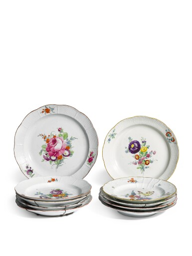 A group of ten plates from the Everyday service, Imperial Porcelain Factory, St Petersburg, periods ofCatherine the Great (1762-1796) and Paul I (1796-1801)
