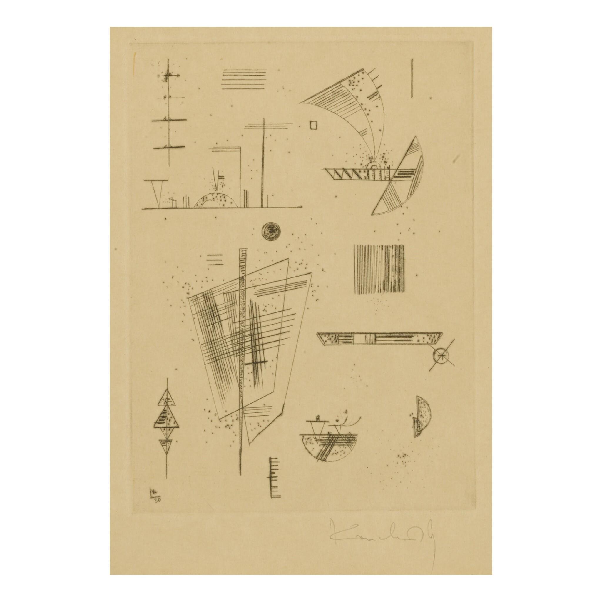 "View full screen - View 1 of Lot 8. WASSILY KANDINSKY   ERSTE RADIERUNG FÜR DIE EDITIONS ""CAHIERS D'ART"" (ROETHEL 194)."