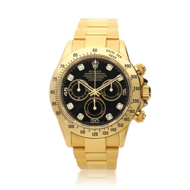 ROLEX  |  REFERENCE 116528 DAYTONA   A YELLOW GOLD AND DIAMOND-SET AUTOMATIC CHRONOGRAPH WRISTWATCH WITH BRACELET, CIRCA 2016