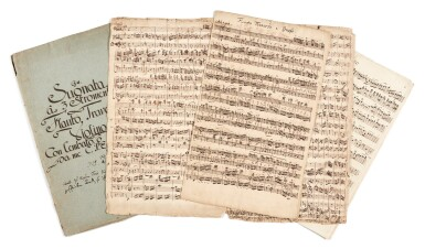 View 1. Thumbnail of Lot 2. C. P. E. Bach. Autograph score and parts of the Trio in G major for flute, violin and continuo, Wq. 144, 1747.