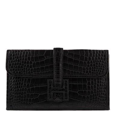 Hermès Black Matte Alligator Jige Duo