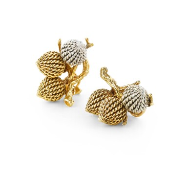 View 2. Thumbnail of Lot 111. Paire de clips d'oreille or | Pair of gold ear clips.