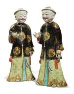 A Rare Pair of Chinese Export 'Nodding Head' Figures, Qing Dynasty, Qianlong Period | 清乾隆  粉彩點頭式人物立像一對