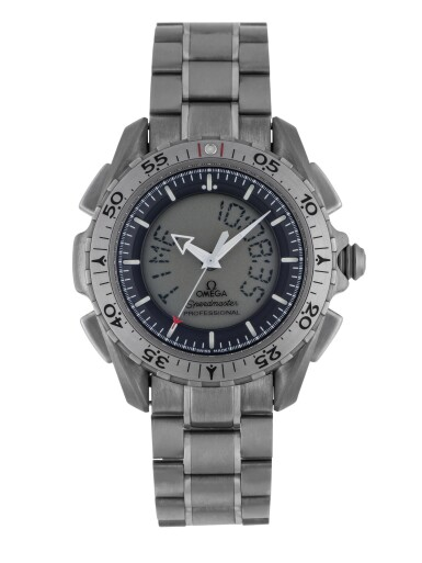 View 1. Thumbnail of Lot 37. OMEGA | SPEEDMASTER X-33, REF 32915000 TITANIUM PERPETUAL CALENDAR CHRONOGRAPH WRISTWATCH WITH ALARM, SECOND TIME ZONE AND BRACELET CIRCA 2004.