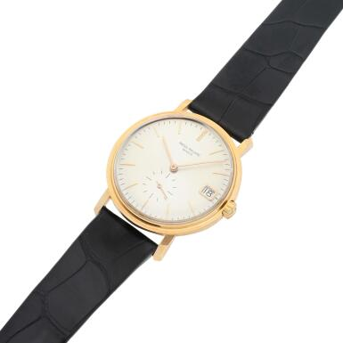 View 4. Thumbnail of Lot 247. Reference 3445  A pink gold automatic wristwatch with date, Made in 1963.