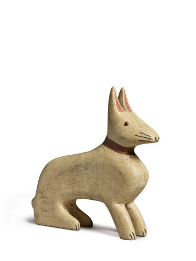 View 2. Thumbnail of Lot 1485. AMERICAN CARVED AND WHITE PAINTED WOODEN RABBIT, CIRCA 1925.
