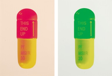 View 1. Thumbnail of Lot 210. DAMIEN HIRST | THE CURE - POWDER PINK/LOLLYPOP RED/GOLDEN YELLOW; AND THE CURE - MINT BLUE/APPLE GREEN/LEMON YELLOW.
