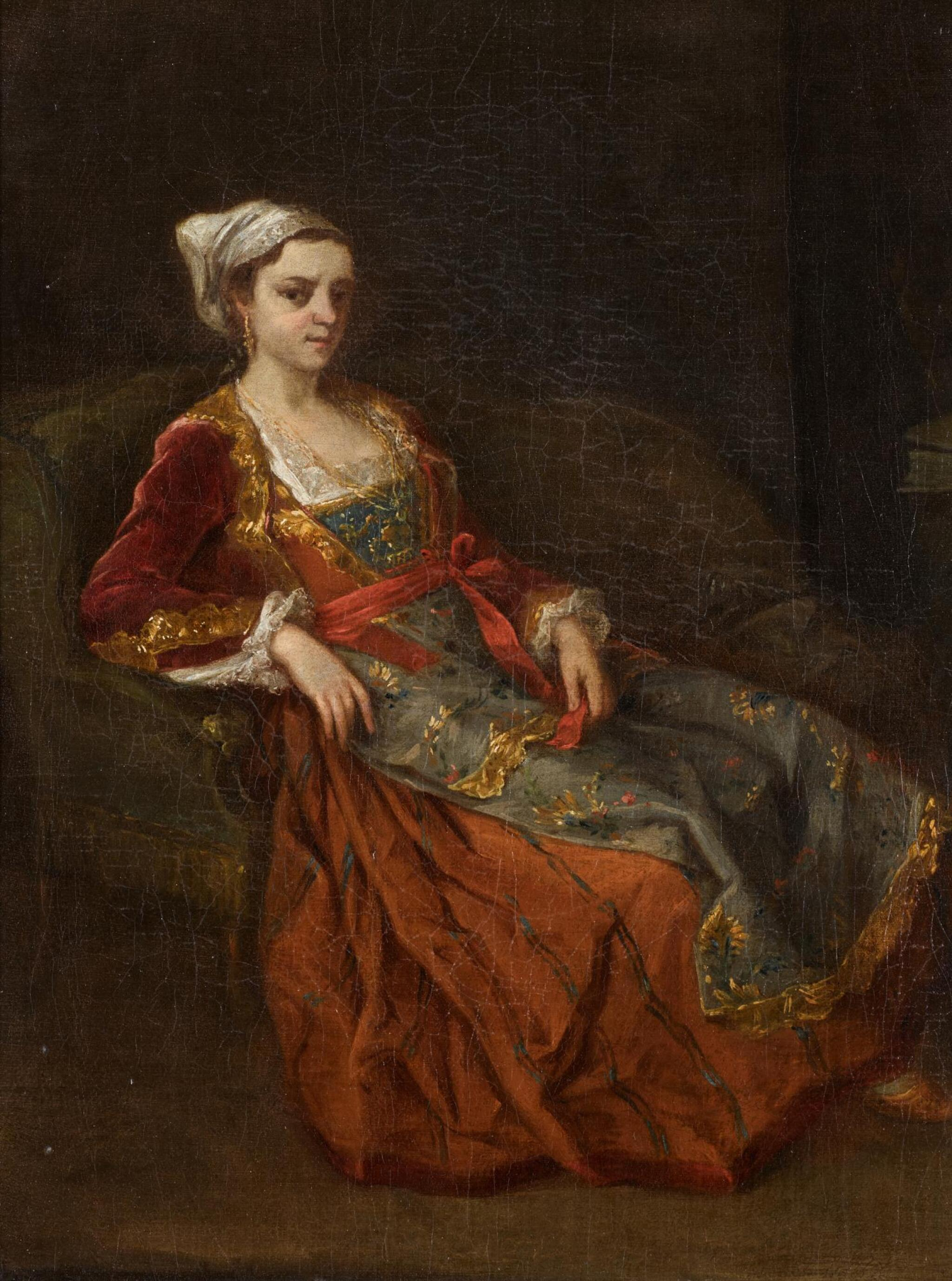 View full screen - View 1 of Lot 65. ATTRIBUTED TO ANTOINE DE FAVRAY | Portrait of a lady in Turkish dress seated in an armchair.