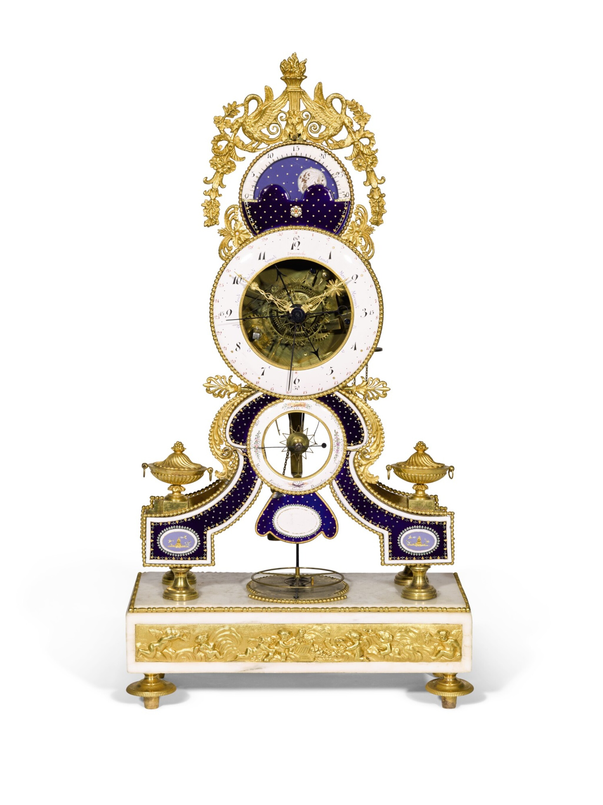 View full screen - View 1 of Lot 132. A Louis XVI gilt-bronze, white marble and enamel skeleton clock with calendar and remontoire, the enamels by Joseph Coteau, Paris, circa 1790.