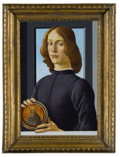 View 4. Thumbnail of Lot 15. Portrait of a young man holding a roundel.