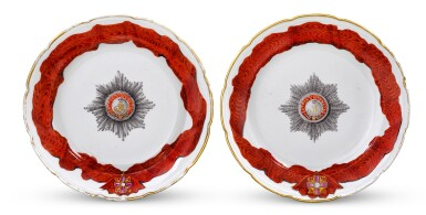 View 1. Thumbnail of Lot 118. Two Porcelain Plates from the Service for the Imperial Order of St. Alexander Nevsky, Gardner Porcelain Factory, Verbilki, 1778-1780.